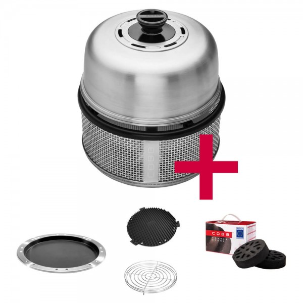 Cobb Premier AIR DELUXE Grill inkl. Air Deckel & Griddle & Bratenrost & Pfanne & Cobble Stone