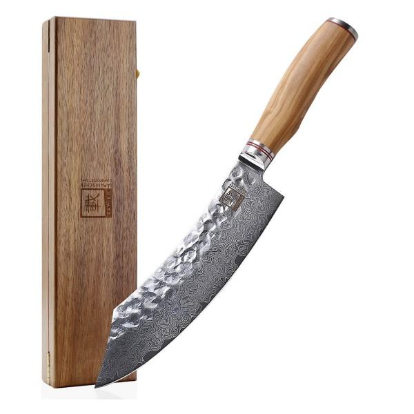 ZAYIKO Damast Blockmesser Klingenlänge 20,5cm mit Hammerschlag und Olivenholzgriff - Olive Serie -