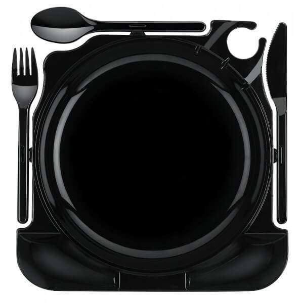 6x Partyteller ~ Einweg Teller ~ Cater Plates ~ 27cm x 26,5cm x 2,8cm schwarz