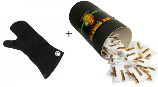 1x Feueranzünder Firestarter Zündbeutel Dose mit 80 Stück + 1x Leder Hitzeschutzhandschuh