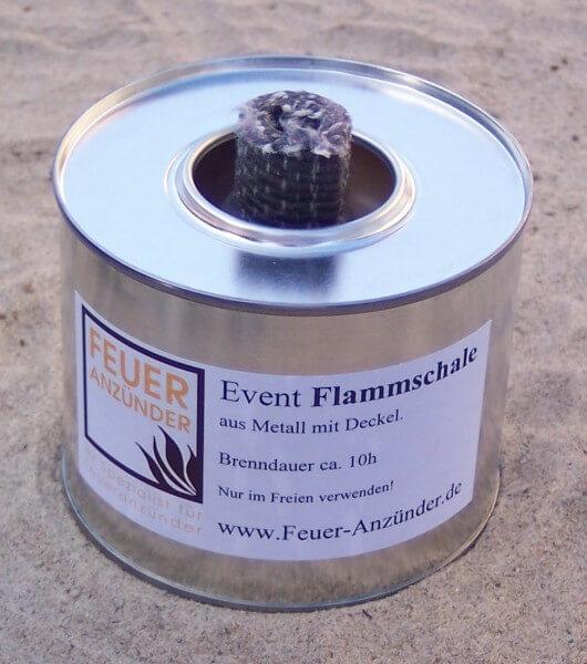 5x Event Flammschale klein aus Metall mit Deckel - Brenndauer ca. 10h