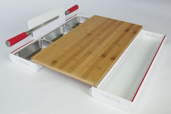 Cutcase 515 Schneidbrett Tool ~ Komplett Set Weiß mit Bambus Schneidbrett ~ CS-11.1