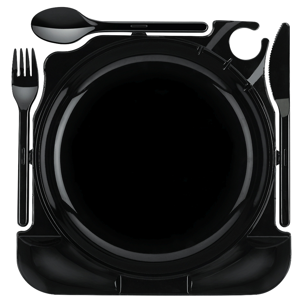 48x partyteller einweg teller cater plates all in one 27cm x 26 5cm x 2 8cm schwarz. Black Bedroom Furniture Sets. Home Design Ideas
