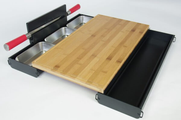Cutcase 515 Schneidbrett Tool ~ Komplett Set Schwarz mit Bambus Schneidbrett ~ CS11.02