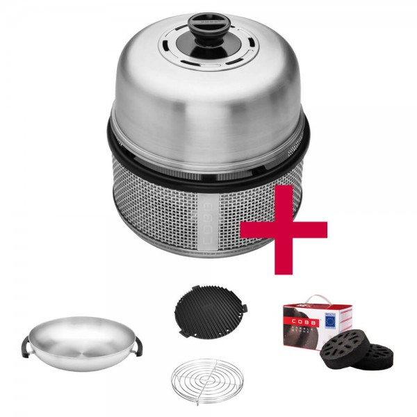 Cobb Premier AIR DELUXE Grill inkl. Air Deckel & Griddle & Bratenrost & WOK & Cobble Stone