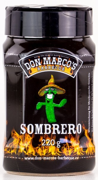 Don Marcos Sombrero BBQ Rub Grillgewürz in 220g Streudose