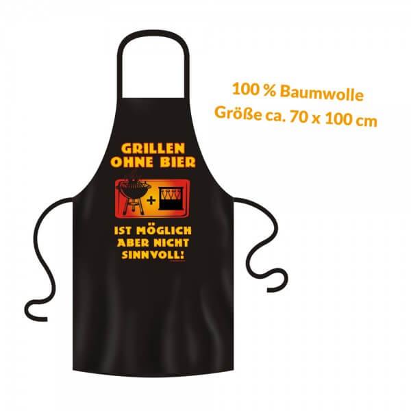 Grillschürze - Küchenschürze - Kochschürze ~ GRILLEN OHNE BIER ~ (2925)
