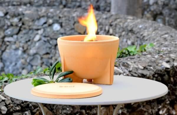 Set 3 - Schmelzfeuer (SFD) & Deckel Outdoor CeraNatur (SFD-DE) & Stabfeuerzeug mit Turbo Flamme