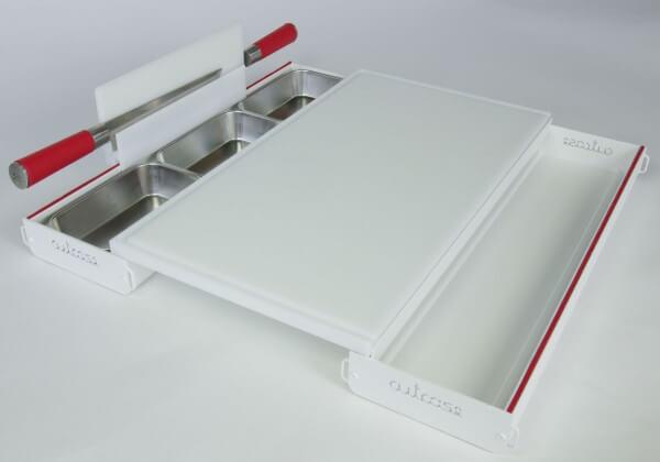 Cutcase 515 Schneidbrett Tool ~ Komplett Set Weiß mit PE Scheidbrett ~ CS-10.1